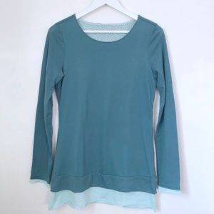 Lucy Activewear Layered Long Sleeve Knit Top Teal
